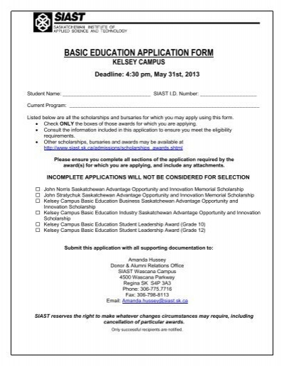 Kelsey Basic Education Student Awards Application Form