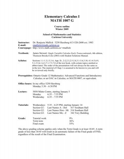 Elementary calculus i math 1007 g school of mathematics and.