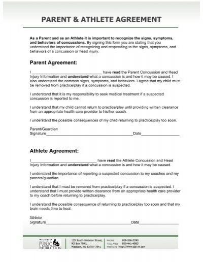 Parent Athlete Agreement Wisconsin Swimming