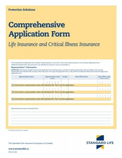 Comprehensive Application Form Life Insurance Standard Life