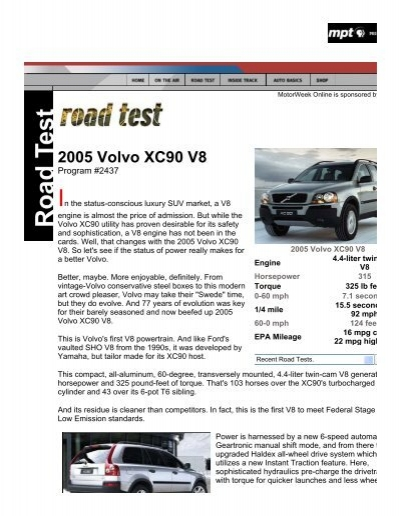 2005 volvo xc90 v8 road test by motorweek pdf rh yumpu com 2005 volvo xc90 manual transfer box faults volvo xc90 2005 manual