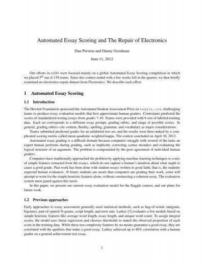 automated essay scoring In this paper, we provide an overview of psychometric procedures and guidelines  educational testing service (ets) uses to evaluate automated essay scoring.