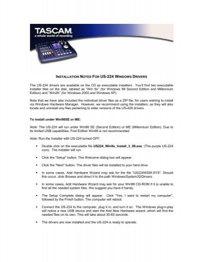 INSTALLATION NOTES FOR US-428 WINDOWS DRIVERS - Tascam