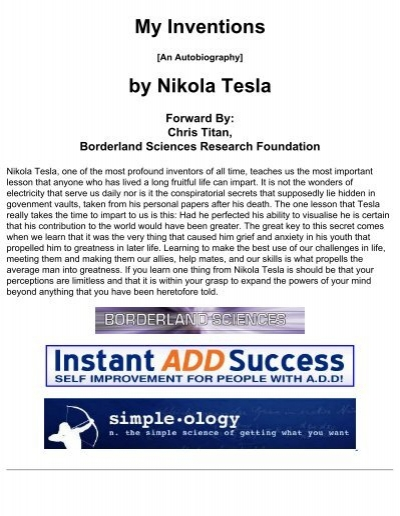 Nikola Tesla My Inventions Pdf What Book Was Tesla Reading