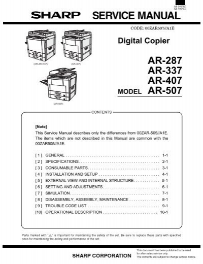 Sharp ar 250 280 285 286 287 335 336 copier fuser kit.