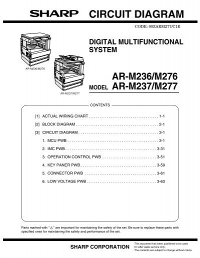 sharp ar m277 ar m237 ar m276 ar m236 parts catalog