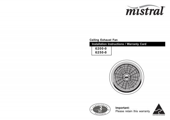 Installation instructions 6200 0 6250 0 mistral ceiling clipsal aloadofball Images