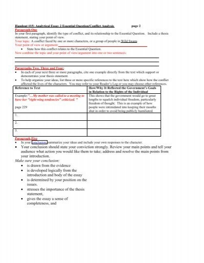 analytical essay handout Essay words and phrases  below are examples of signposts that are used in  argumentative essays signposts enable  points in your assignment they are.