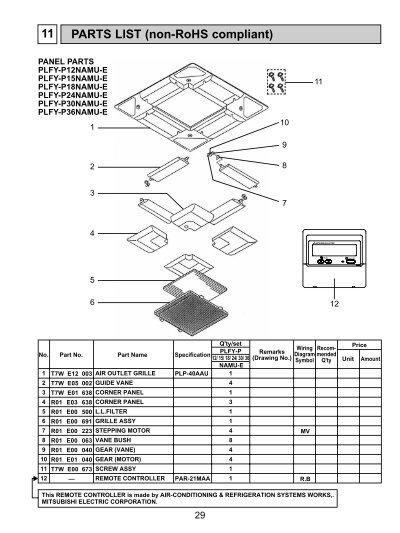 parts list non rohs compliant 11 mylinkdrive rh yumpu com  mitsubishi puy-a18nha4 manual