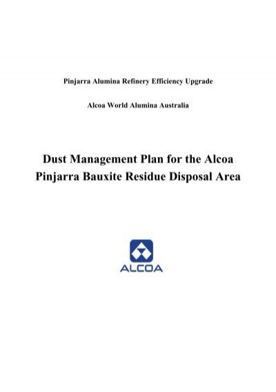 Dust Management Plan for the Alcoa Pinjarra Bauxite Residue