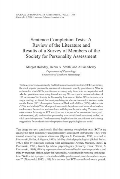 sentence completion projective test