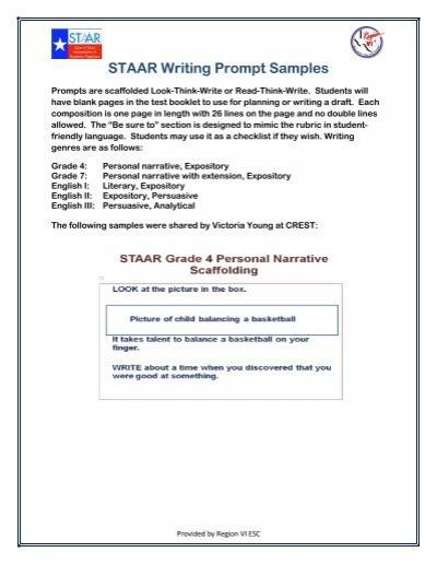 STAAR Writing Prompt Samples ESC Region VI
