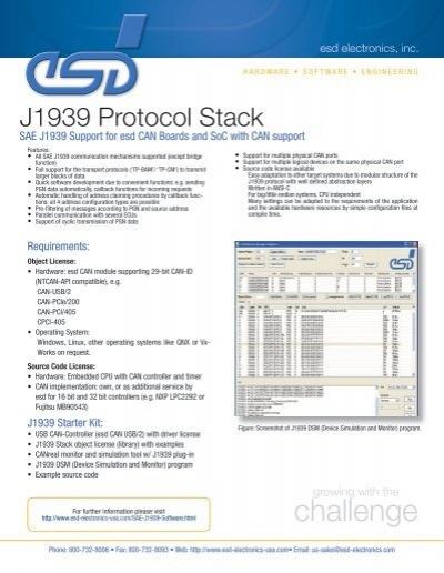 Download SAE J1939 Protocol Stack Data Sheet (PDF)