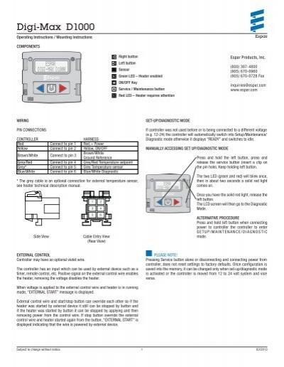19513497 digi max d1000 espar Basic Electrical Wiring Diagrams at creativeand.co