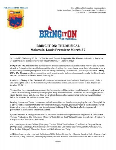 BRING IT ON: THE MUSICAL Makes St  Louis Premiere March 27