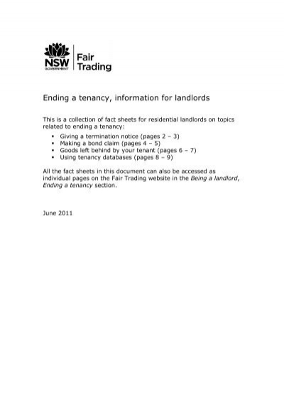 Ending A Tenancy Information For Landlords Nsw Fair Trading