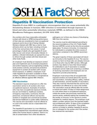 OSHA FACTSHEET HEPATITIS B VACCINATION PROTECTION ...
