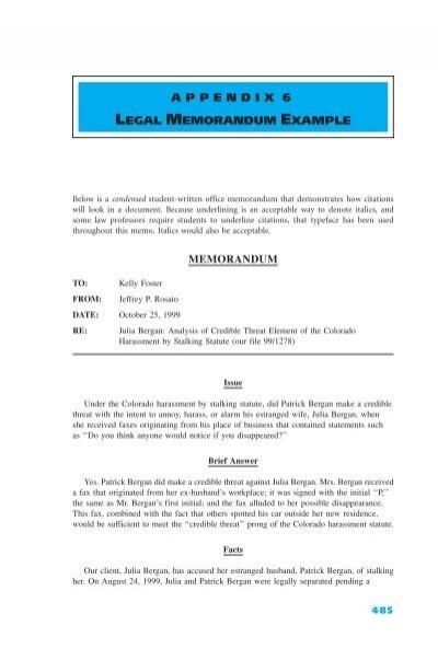 appendix 6 legal memorandum example