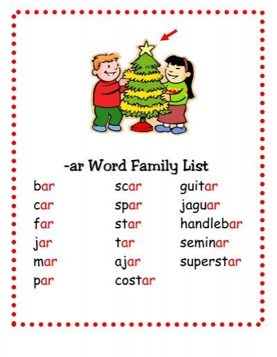 Worksheets Ar Words ar word family list way way