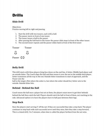 Volleyball Drills For Coaches Pdf Allen Sports Association
