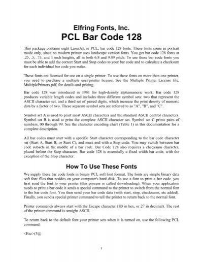 PCL Bar Code 128 - Elfring Soft Fonts, Inc