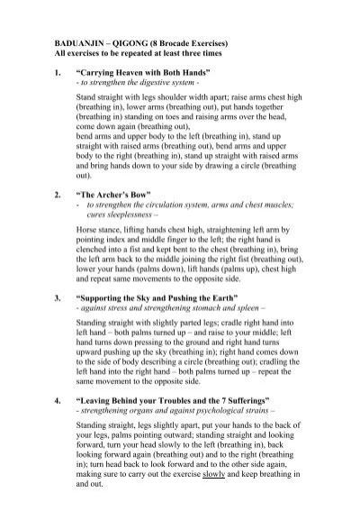 BADUANJIN – QIGONG (8 Brocade Exercises) All exercises to be
