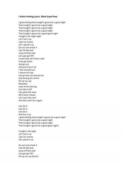 Its gonna be a good night lyrics