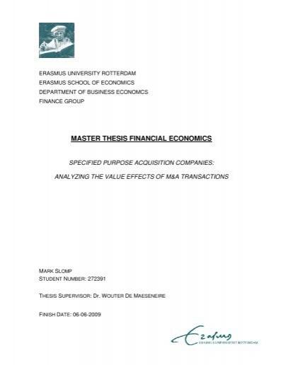 Research proposal master thesis economics JFC CZ as