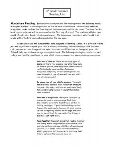 4th Grade Summer Reading List