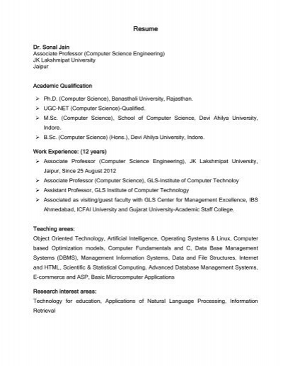Resume of Sonal Jain - JK Lakshmipat University