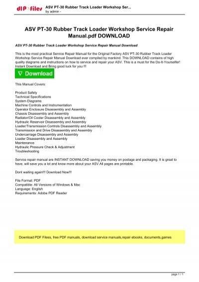 ASV PT-30 Rubber Track Loader Workshop Service Repair Manual