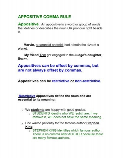 appositive comma rule appositives can be fruitport blogs
