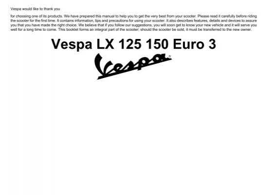 Vespa LX150 scooter owners manual download - Scooters in San ... on