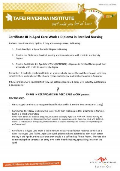 Certificate III In Aged Care Work Diploma