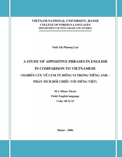 a study of appositive phrases in english in comparison to vietnamese. Black Bedroom Furniture Sets. Home Design Ideas