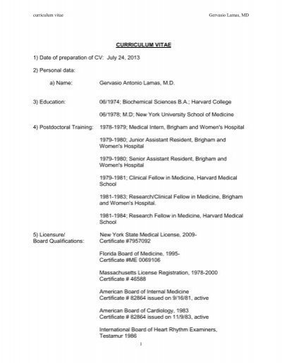 curriculum vitae 1  date of preparation of cv