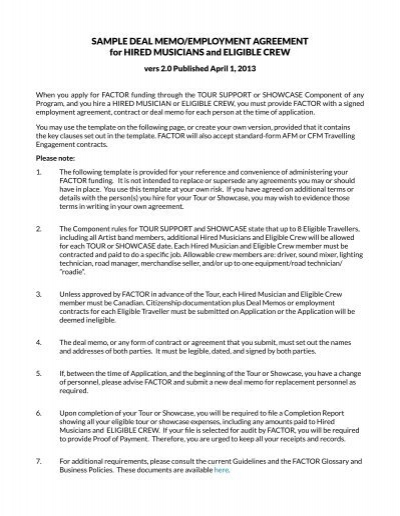 Sample deal memoemployment agreement for net pronofoot35fo Gallery