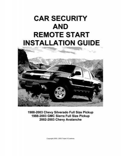car security and remote start installation guide