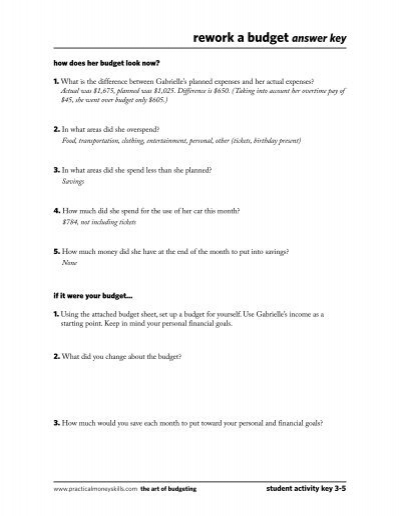 Budget Worksheet Answer Key - A Worksheet Blog