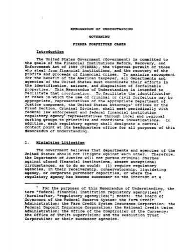 Memorandum Of Understanding Governing FIRREA FDIC
