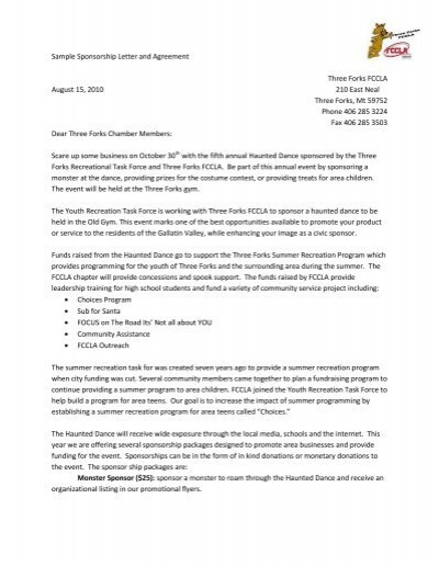 Sample Sponsorship Letter And Agreement Three Forks Fccla