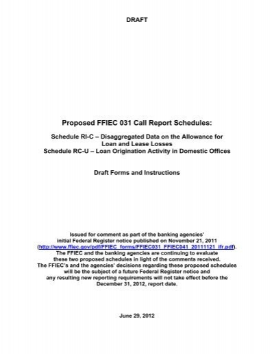 Proposed Ffiec 031 Call Report Schedules Ri C