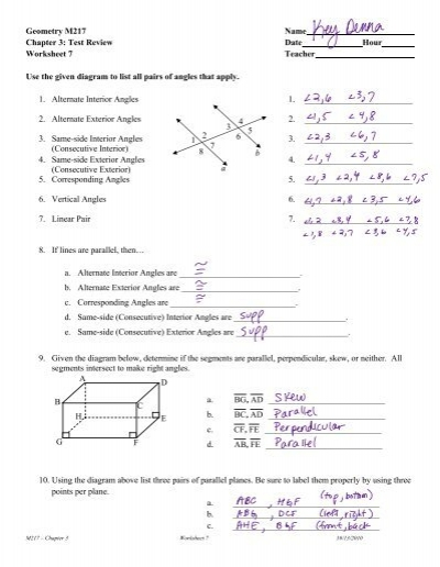 Geometry M217 Name Chapter 3  Test Review Date Hour