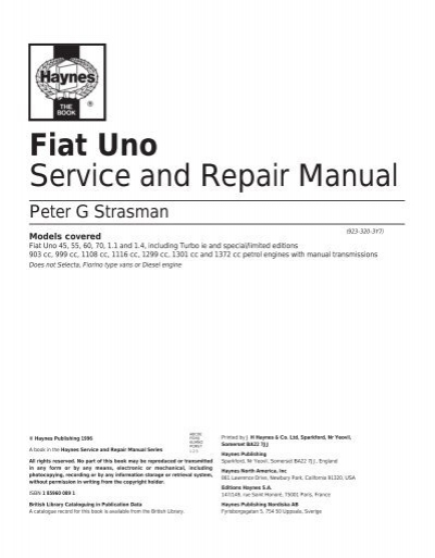 Fiat Uno Service And Repair Manual