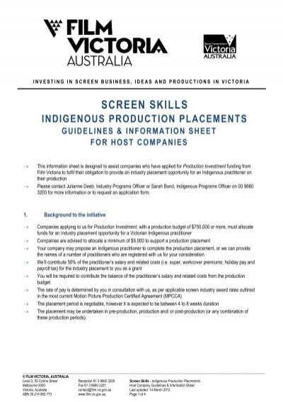 host company guidelines and information sheet - Film Victoria