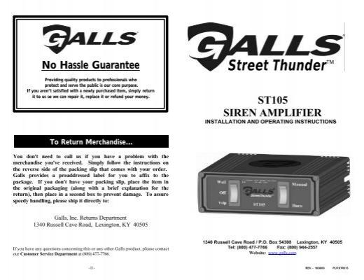 No Hassle Guarantee Galls 2009 Sterling Wiringdiagram St110 Siren Wiring Diagram: Galls St160 Siren Wiring Diagram At Eklablog.co