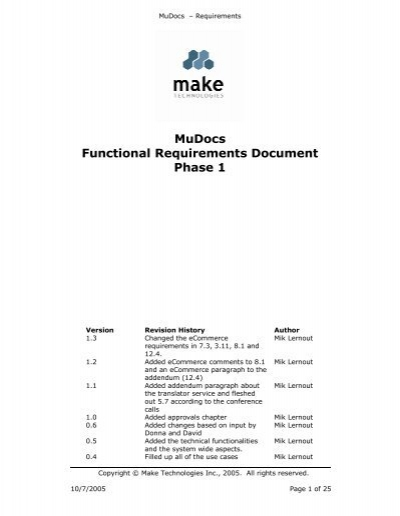 Mudocs Functional Requirements Document Phase   University Of