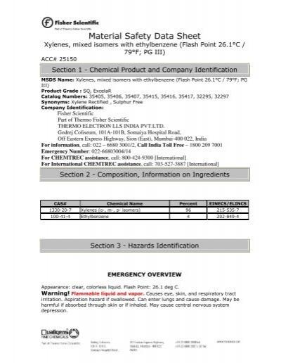 xylenes x5-1 fisher scientific msds pdf