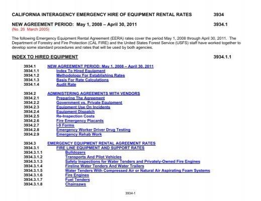California Interagency Emergency Hire Of Equipment Rental