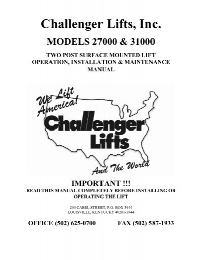 Challenger lift manual array challenger lifts inc flamingo shop serv rh yumpu fandeluxe Choice Image